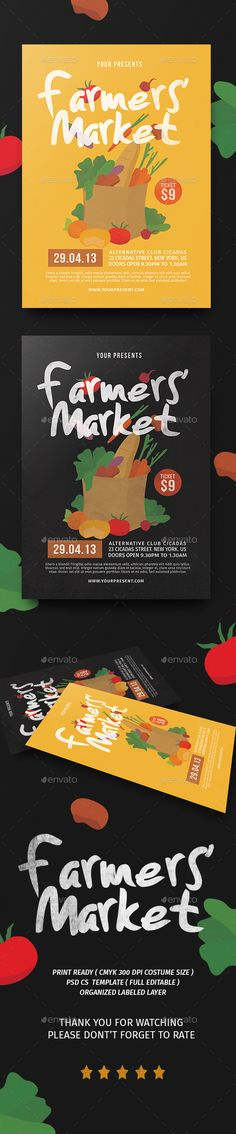 Excellent Flat PSD Farmers Market Flyer Template • Only available here ➝ http://graphicriver.net/item/farmers-market-flyer/16345817?ref=pxcr