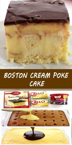 Ingredients: 1 box Yellow Cake Mix (plus box ingredients) 2 small boxes oz) Instant Vanilla Pudding Mix 4 cup Milk 1 container Chocolate Frosting Cake Mix Desserts, Poke Cake Recipes, Easy Desserts, Delicious Desserts, Dessert Recipes, Poke Cake Jello, French Desserts, Vanilla Pudding Recipes, Vanilla Cake Mixes