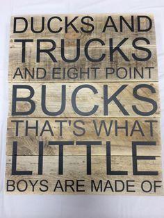 Ducks Trucks and Bucks pallet sign by CutItOutCC on Etsy - diy pallet creations Pallet Art, Diy Pallet Projects, Wood Projects, Woodworking Projects, Woodworking Plans, Pallet Ideas, Woodworking Furniture, Pallet Wood, Wooden Furniture