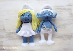 Smurf and Smurfette crochet patterns Pattens are separate find them on blog