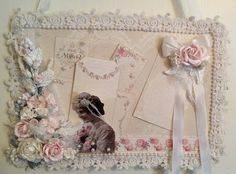 Inspiration: Magnetic Memo board: annes papercreations: - Post has lots of photos and Video explains how she makes this beautiful, shabby board. Not sure what the board is, but could use a cookie sheet...
