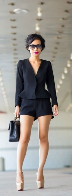 different black shirt, but love the black shorts and black top