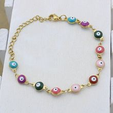 US $1.43 YYW Women's European Evil Eyes Beaded Gold-color Stainless Steel Bracelets Colorful Enamel Evil Eye Charm Chain Wrist Bracelets. Aliexpress product