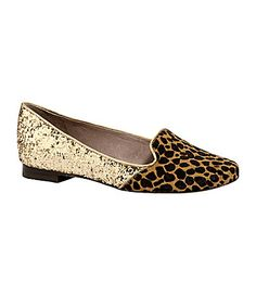 Vince Camuto Lilliana Smoking Slippers | Interesting use of animal print! But what if only the gold matches the rest of my outfit..