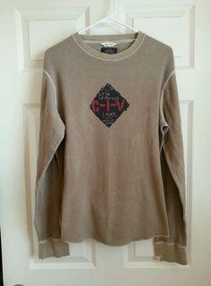 Mens Nautica Jeans Graphic Thermal Long Sleeve Shirt - Tan - Size M NICE! #NauticaJeansCo #Thermal