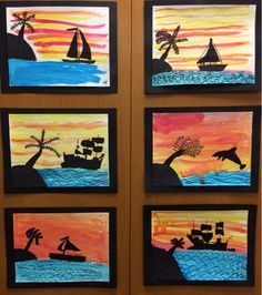 2nd Grade Silhouettes We're very proud of our silhouettes! Art vocabulary words related to this lesson: *horizon line *silh...