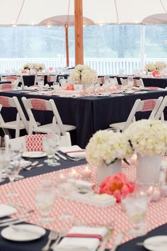 Coral patterned fabric overlays on navy cotton and custom chair backs. Loving the chair backs!