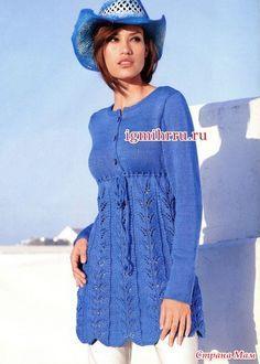 Синяя вязанная туника (подойдет для беременных)