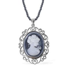 The throwback character of the cameo nurtures warm emotions for this pendant. While the muted hematite blends well with its reserved image from a 20-inch chain in stainless steel. Free Shipping ​Gift Box