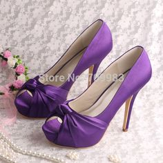 Cheap satin purple shoes, Buy Quality shoes satin directly from China shoes trekking Suppliers:          Women Pointed Toe Plus Size High Heels Slingback Wedding Satin Shoes with Bows Free Shipping USD 45.00/pair(14