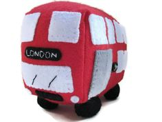 Red bus toy plush personalized gift childrens by GracesFavours, £22.00