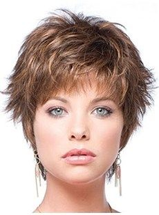 Top Quality Glamorous Cool Short Hairstyle Straight  Wig 100% Human Hair Wig