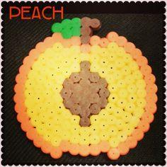 Peach fruit magnet perler beads by artsy_jary