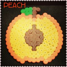 Peach fruit magnet perler beads by artsy_jary