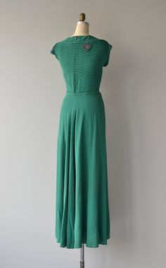 Viridian Line dress vintage 1930s dress long rayon by DearGolden