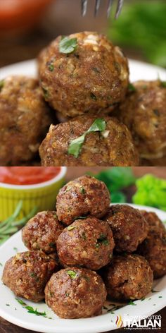Best Ever Italian Herb Baked Meatballs are the perfect recipe to learn how to make meatballs the right way. They are truly the most amazing meatballs we have ever had. Our baked meatballs are beautifully browned on the outside and tender and juicy on the inside. #meatballs #Italianmeatballs