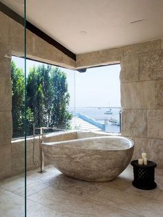 25 Admirable Rustic Stone Bathtub With Natural Accents - Page 23 of 25 Modern Bathroom, Small Bathroom, Master Bathroom, Bathroom Goals, Mediterranean Bathroom, Stone Bathtub, Rustic Stone, Bathtub Remodel, Master Suite
