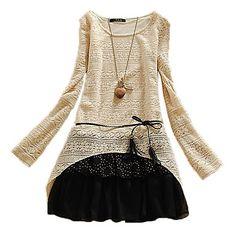 Casual Big Size Long Sleeve Lace Dress Women Dress – SEK Kr. 121