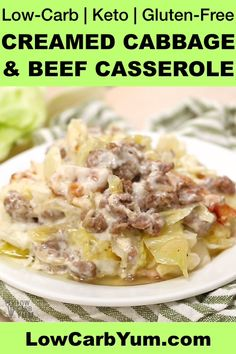 delicious creamed cabbage low carb casserole is sure to be hit. Added beef and bacon makes it a complete keto meal. Ground Beef Casserole, Keto Casserole, Casserole Recipes, Cabbage Casserole, Creamed Cabbage, Cabbage And Beef, Cabbage Salad, Creamed Chicken, Beef Recipes