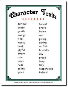 Free Character Trait List for Primary Grades.