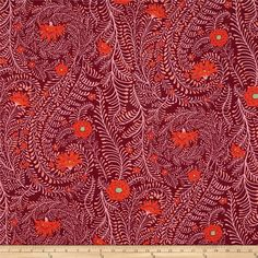 Kaffe Fassett Ferns Cherry from @fabricdotcom  Designed by Kaffe Fassett for Westminster, this cotton print is perfect for quilting, apparel and home decor accents. Colors include deep magenta, pink, poppy, and green.