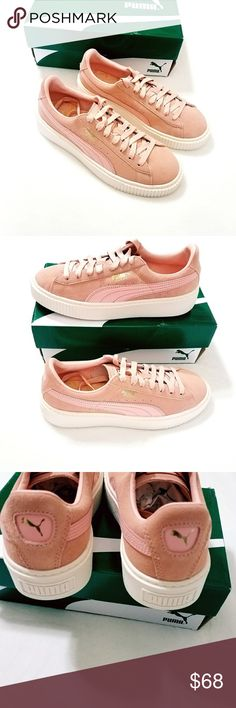 Puma Suede Platform Core Sneakers Suede Rubber sole Shaft measures approximately low-top from arch Size 9 New in Box Pink Puma Shoes Sneakers