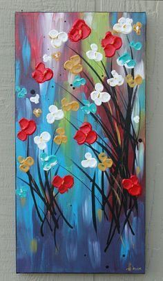 Red Flower Painting flowers white blue original acrylic painting on canvas gift size Flores de pintura de la flor rojo blanco azul von DanlyesPaintings Acrylic Art, Acrylic Painting Canvas, Canvas Art, Blue Canvas, Knife Painting, Abstract Flowers, Painting Flowers, Blue Painting, Floral Paintings