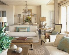 lovely serene living area  HOUSE TOUR: Perfectly Styled Neutrals in Malibu - Veranda