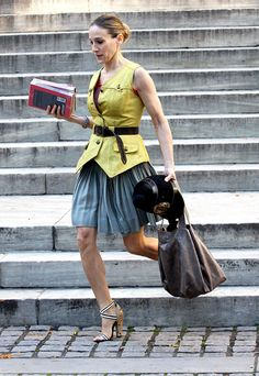 "7. The Fresh-off-the-Runway Vest: By the time Carrie was preparing to marry Mr. Big in the first movie, she (and the SATC costume designers) had no trouble securing super-current styles, like the Proenza Schouler military vest and studded strappy sandals from their Spring 2008 collection. ""Everyone wanted their clothes on the show,"" Weinberg said. ""Boxes and boxes would arrive daily."""