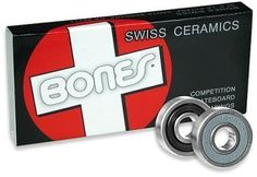 BONES BEARINGS Skateboard CERAMIC Set of 8 SWISS Sale! by Bones. $89.99. Bones Swiss Ceramic bearings are simply the best skate bearings out there today. Pro Skaters use them, and there's a reason - they're the best.  There are the strongest, fastest, smoothest and most durable bearings in existance.  Specifications: Solid High Purity Silicon Nitride Ceramic Balls Fully Serviceable Removable High Speed Nylon Ball Cage Removable Non-Contact, Frictionless Rubber Shield Lubricated w...
