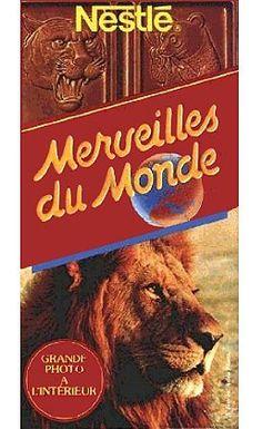 Merveilles du Monde, le chocolat avec les grandes images d'animaux