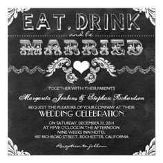 eat drink and be married chalkboard wedding invite