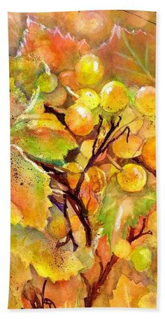 Grapes Bath Towel featuring the painting Autumn Grapes Symphony by Sabina Von Arx Yellow Bathroom Decor, Creative Colour, Canvas Prints, Art Prints, Painting Techniques, Green And Gold, Color Show, Bath Towels, Colorful Backgrounds