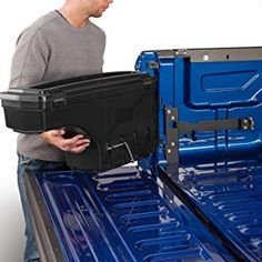 SwingCase allows full use of the truck bed, and swings your gear out to you. Easy on, easy off, without using any tools. Take your gear with you - it even stands upright on its own. Truck Storage Box, Tool Storage, Storage Spaces, Best Truck Tool Box, Truck Tools, Bed Tool Box, Truck Bed Rails, Cool Trucks, Car Wash