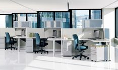 White modern cubicles office interior