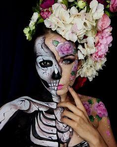 Love the half n' half! Amazing Halloween Makeup, Pretty Halloween, Halloween Make Up, Halloween Face Makeup, Halloween Hair, Dead Makeup, Fx Makeup, Makeup Shop, Fantasy Make Up