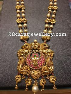 South Sea Pearls Mala with Peacock Pendant - Indian Jewellery Designs Pendant Jewelry, Beaded Jewelry, Antique Jewelry, Antique Gold, Pearl Jewelry, Statement Jewelry, Jewelry Sets, Gold Temple Jewellery, Gold Jewellery Design