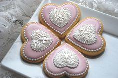 Elengant Pink Heart Pendant Cookies - One Dozen Decorated Sugar Cookies. $36.00, via Etsy.