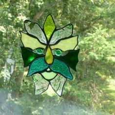 Custom Made Medieval Green Man Stained Glass Light Catcher