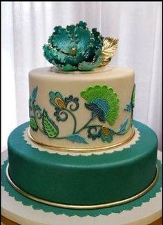 Teal and white cake with green and dark blue accents