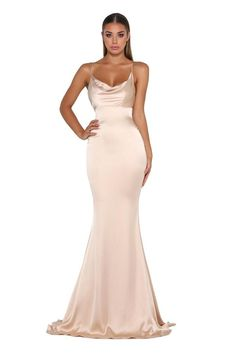 Portia & Scarlett Dana champagne coloured silky satin gathered bust bodycon fit strech bridesmaids dress sexy formal gown