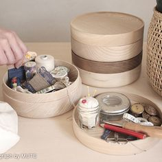 You can never have enough storage for small items surrounding your desk area. These wooden containers (part of the Soji Collection designed by Mute) work p Wooden Containers, Wood Storage Box, Indoor Outdoor Living, Shabby Cottage, Japanese Design, Desk Accessories, Home Crafts, Home Goods, Home Decor
