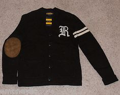 Sold Out Rugby Ralph Lauren Black Mens Sweater Small s New Polo Vtg Cardigan | eBay