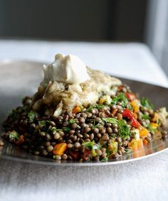 Lentils With Broiled Eggplant    Cookbook Review & Recipe from Plenty by Yotam Ottolenghi