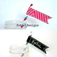 In The Hoop Straw Flag Machine Embroidery Design - use chalkboard fabric, or Vinyl Fuse over your regular fabric to make them easily customizable! by KatieLDesigns