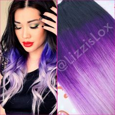 """Black To Purple Ombre Dip Dye Clip In Hair Extensions full set 7 piece Human Hair 20"""". I would dye my real hair like this if my job allowed it."""