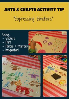 Talk to your child about emotions using the arts & crafts they are comfortable with Craft Activities For Kids, Educational Activities, Preschool Ideas, Crafts To Make, Teaching Ideas, Crafts For Kids, Art Therapy Children, Emotional Awareness, Creative Arts And Crafts