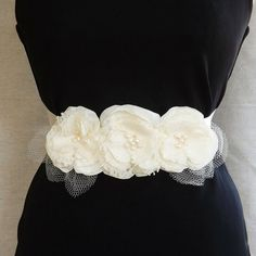 Ivory Satin Bridal Sash with Lace & Satin by theGinghamGarden, $40.00