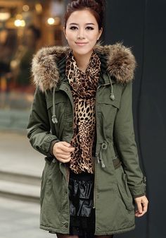 Army Green Plain Buttons Pockets Cotton Padded Coat