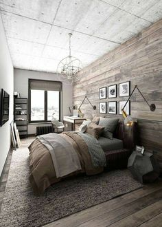 Awesome Deco Chambre Rustique that you must know, You?re in good company if you?re looking for Deco Chambre Rustique Industrial Bedroom Design, Rustic Bedroom Design, Farmhouse Master Bedroom, Master Bedroom Design, Cozy Bedroom, Home Decor Bedroom, Bedroom Designs, Bedroom Small, Bedroom Kids